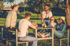 Groupe multi-ethnique d'amis buvant du café et causant en parc Images stock