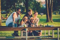 Groupe multi-ethnique d'amis prenant un selfie avec le téléphone portable Photographie stock libre de droits
