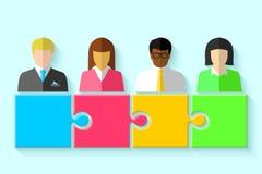 Groupe multiracial des gens d'affaires et du concept de puzzle Image stock