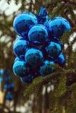Groupe nouvelle de boules bleues d'année et de Noël sur l'arbre de Noël Images stock