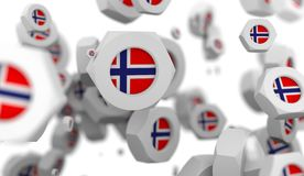 Groupe Nuts de lévitation avec le drapeau de la Norvège Images stock