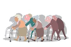 Groupe of old people walking with walkers. Funny vector cartoon illustration Royalty Free Stock Photography