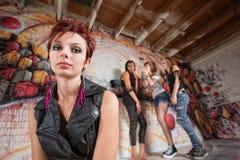Groupe riant de la fille Photographie stock