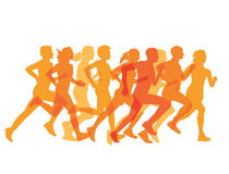 Groupe serré de coureurs dans une course Images stock