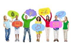 Groupe social de télécommunications mondiales de media Image stock
