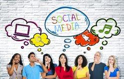 Groupe social de télécommunications mondiales de media Images libres de droits