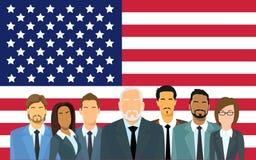 Groupe supérieur d'hommes d'affaires de gens d'affaires de drapeau de Team Over United States American Photos libres de droits