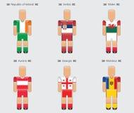 Groupe uniforme d d'icône de l'Europe de drapeau de joueur de football du football Photo libre de droits