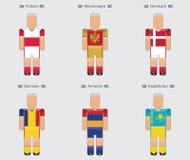 Groupe uniforme e d'icône de l'Europe de drapeau de joueur de football du football Photo stock