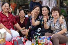 Groupe vietnamien de vendeurs Image stock