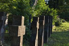 Grouped christian crosses from world war two. Cemetery with Crosses for World War Two heroes Romania Stock Photography