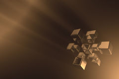 Grouped reflecting cubes. A group of cubes, floating in a slightly hazy space. Image has DOF, sharpest point is is on the cube in the front middle Stock Images