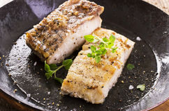 Grouper Fillet Fried in a Pan. Grouper fillet fried as closeup in a pan Stock Photography