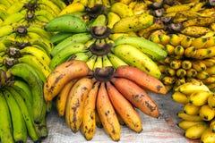 Groupes de bananes mûres sur le marché Photographie stock
