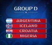 Groupes de championnat du football Ensemble de drapeaux nationaux Résultat d'aspiration Tournoi du monde du football groupe D Photographie stock