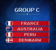 Groupes de championnat du football Ensemble de drapeaux nationaux Résultat d'aspiration Tournoi du monde du football groupe C Photos stock