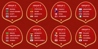 Groupes de coupe du monde du football illustration stock