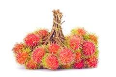 Groupes de délicieux doux de ramboutan sur la nourriture saine de fruit tropical de ramboutan de fond blanc Photos libres de droits