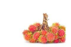 Groupes de délicieux doux de ramboutan sur la nourriture saine de fruit tropical de ramboutan de fond blanc d'isolement Images libres de droits