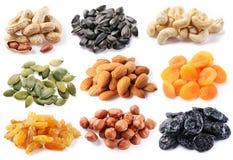 Groupes de divers genres de fruits secs Photos libres de droits