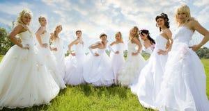 Groupes de mariée sur l'herbe verte Image libre de droits