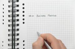 Groupes de réunion d'affaires d'écriture de main Images stock