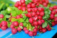 Groupes de radis vendus sur le marché de l'agriculteur Images stock