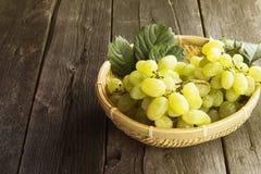 Groupes de raisins verts dans la cuvette wattled sur un backgr en bois foncé Images stock
