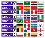 Groupes du football de drapeaux Images libres de droits