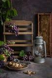 Groupes lilas et verts de raisins et de miel doux frais photographie stock
