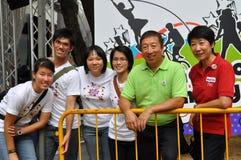 Groupez la photo pendant le lancement de logo de Jeux Olympiques de la jeunesse Photographie stock libre de droits