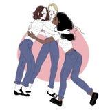 Groupez le portrait de jeunes filles sur la réunion amicale Amis féminins s'étreignant Trois femmes de caresse d'isolement dessus illustration stock