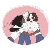 Groupez le portrait de jeunes filles sur la réunion amicale Amis féminins s'étreignant Trois femmes de caresse d'isolement dessus illustration libre de droits