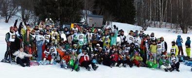 Groupez les concurrents de photo à la croix de ski et d'interne Photos libres de droits