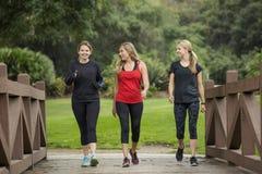 Groupez les femmes dans leur 30s marchant ensemble dans l'extérieur photo stock