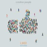 Groupez les personnes formant comme des pouces vers le haut du vecteur plat de signe isométrique illustration stock