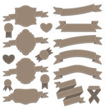 Groupez les rubans en cuir, labels de vintage, emblèmes géométriques Image stock