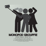 Groupfie Symbol, A Group Selfie Using Monopod Stock Images