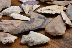 Grouping of Arrowheads. Macro image of flint artifacts Stock Photo