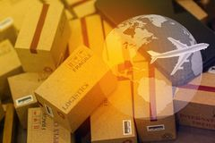Grouping Light brown small boxes and cell phone with a plane fli. Es above world map. For ideas about transportation, international freight, global shipping Royalty Free Stock Image
