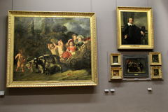 Grouping of masterpieces in one of many rooms, The Louvre, Paris, France, 2016 Stock Images