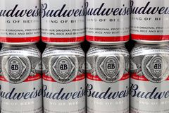 Free Grouping Of Budwieiser Beer Cans And Trademark Logo Stock Image - 139642771