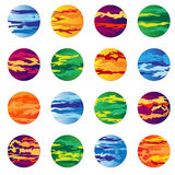 Grouping of planets abstract. In various colors Stock Photography
