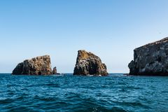 Grouping of Volcanic Rock Formations at East Anacapa Island in California. A grouping of volcanic rock formations at East Anacapa Island in Channel Islands Royalty Free Stock Image