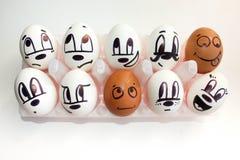 Groupmatesconcept Eieren in cellen met geschilderd Stock Foto