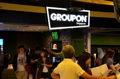 Groupon shop counter Suntec City Singapore Royalty Free Stock Photos