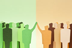 Groups on agreement. Two different groups reaching a successful agreement Royalty Free Stock Photos