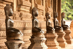 Groups of ancient Buddha on the Church in Hor Phakaeo Temple, Laos. Royalty Free Stock Photography