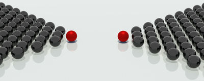 Groups of balls. Two groups of mirror balls in the shape of arrows and headed with the red balls, indicate a single point in space Royalty Free Stock Photos