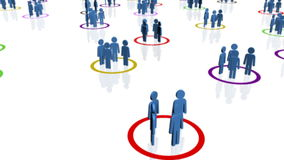 Groups of blue people in multi-coloured circles Royalty Free Stock Images